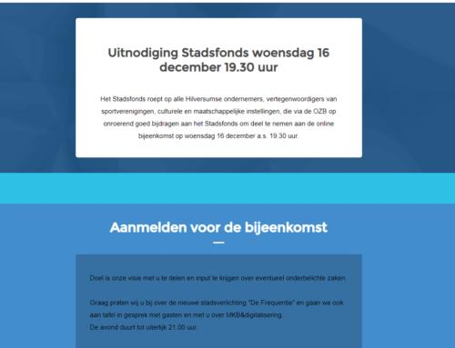 Webinar Stadsfonds verplaatst naar 13 januari '21